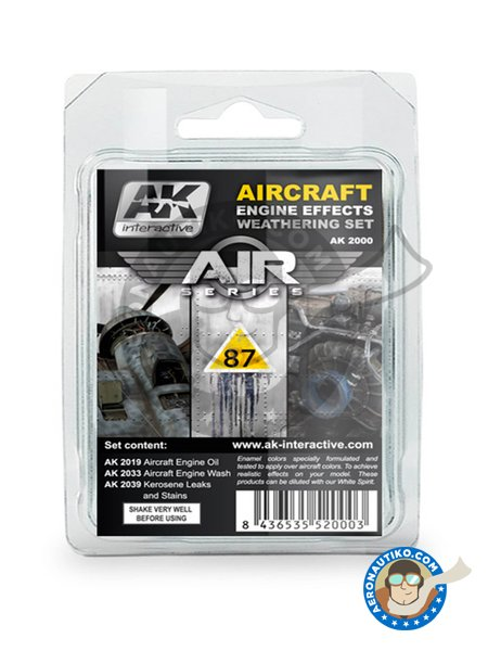 Aircraft Engine Effects Weathering Set | Air Series | AK Weathering efect product manufactured by AK Interactive (ref.AK-2000) image