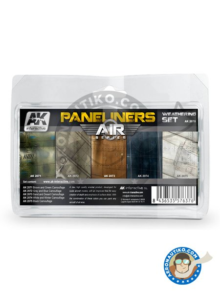 Paneliners Weathering | Air Series | Set Combo | Paints set manufactured by AK Interactive (ref. AK-2070) image