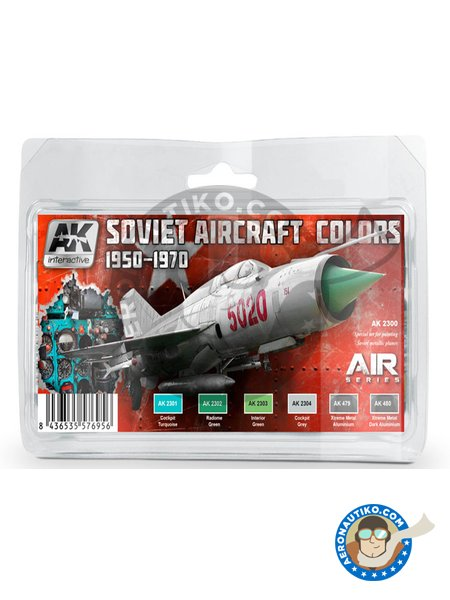 Soviet Aircraft Colors | 1950 - 1970 | Paints set manufactured by AK Interactive (ref. AK-2300) image
