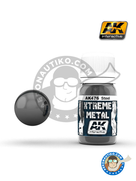 Steel | Xtreme metal paint manufactured by AK Interactive (ref. AK-476) image