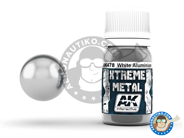 Image 1: White aluminium | Xtreme metal paint manufactured by AK Interactive (ref. AK-478)