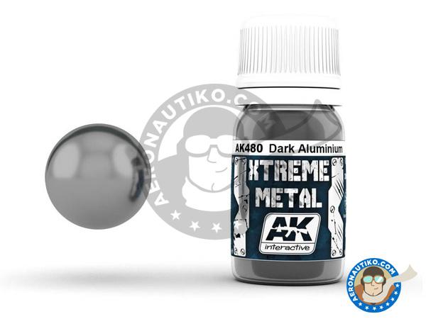 Image 1: Dark aluminium | Xtreme metal paint manufactured by AK Interactive (ref.AK-480)