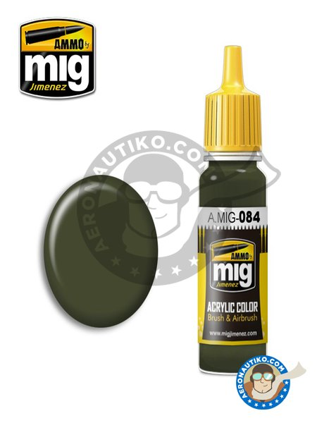 NATO Green | New 2018 | Acrylic paint manufactured by AMMO of Mig Jimenez (ref. A.MIG-084) image