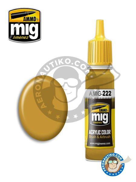 RLM 79 Sandgelb | New 2018 | Acrylic paint manufactured by AMMO of Mig Jimenez (ref.A.MIG-222) image