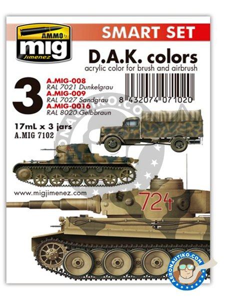 D.A.K. Colors Deutsches Afrikakorps | Smart set | Paints set manufactured by AMMO of Mig Jimenez (ref.A.MIG-7102) image