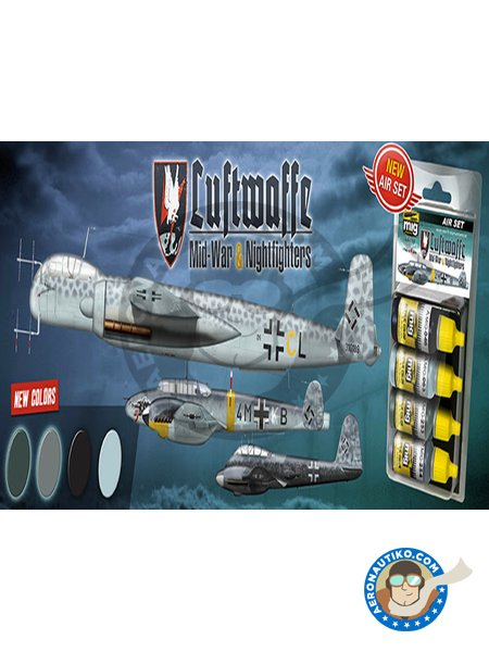 Luftwaffe Mid-War and Nightfighter | New June 2018 | Paints set manufactured by AMMO of Mig Jimenez (ref. A.MIG-7220) image