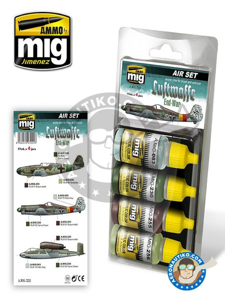 Luftwaffe end war colors | Paints set manufactured by AMMO of Mig Jimenez (ref.A.MIG-7221) image
