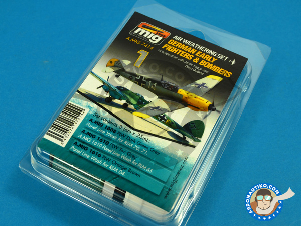 Image 1: Air Weathering Set German Early WWII Fighters and Bombers | Paints set manufactured by AMMO of Mig Jimenez (ref. A.MIG-7414)