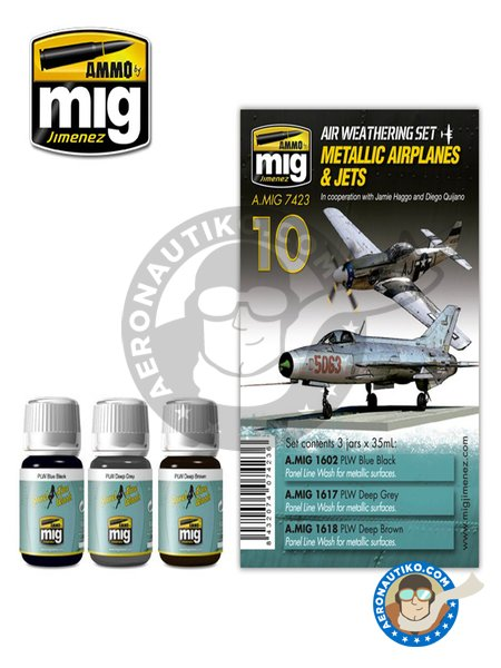 Metallic Airplanes & Jets | Weathering Sets | Paints set manufactured by AMMO of Mig Jimenez (ref. A.MIG-7423) image