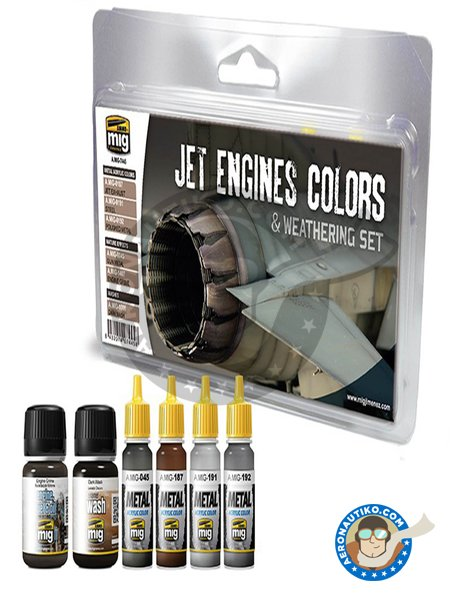 Jets Engines Colors & Weathering Set | Paints set manufactured by AMMO of Mig Jimenez (ref.A.MIG-7445) image