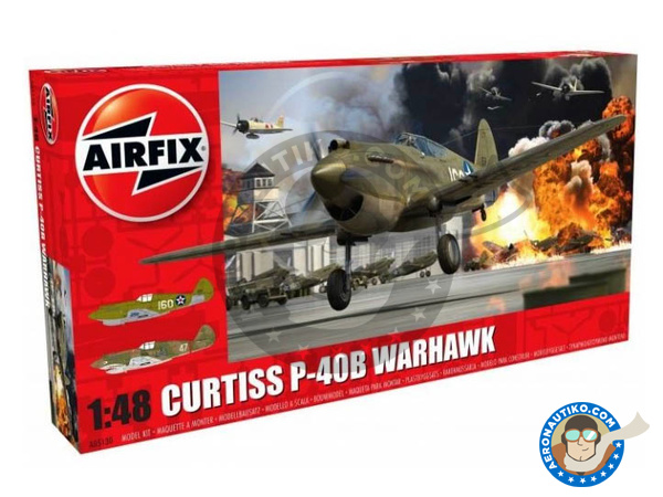 Image 1: Curtiss P-40 Warhawk B | Airplane kit in 1/48 scale manufactured by Airfix (ref. A05130)