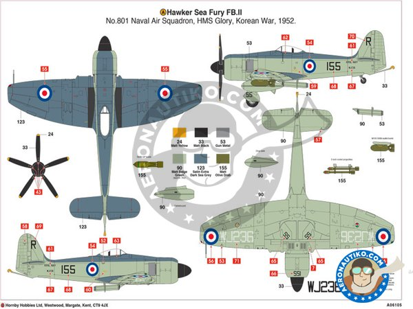 Image 3: Hawker Sea Fury FB. II | Airplane kit in 1/48 scale manufactured by Airfix (ref.A06105)