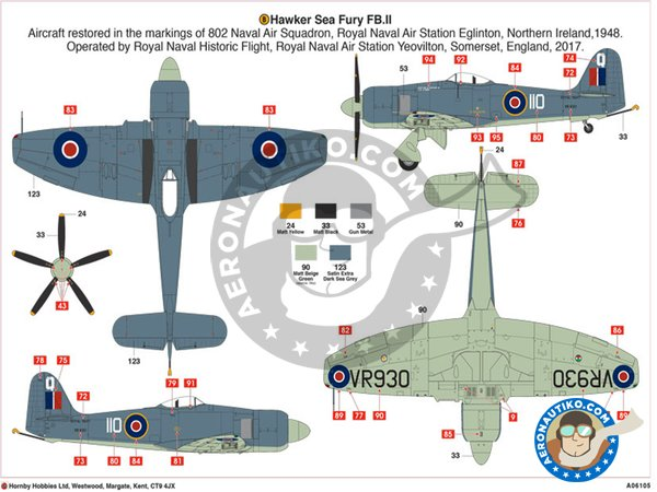 Image 4: Hawker Sea Fury FB. II | Airplane kit in 1/48 scale manufactured by Airfix (ref.A06105)