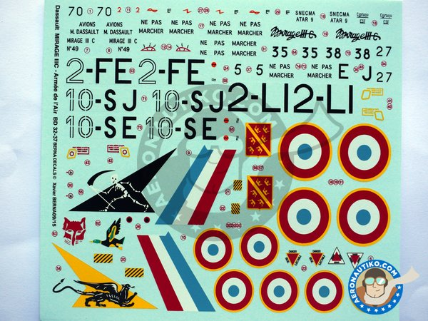 Image 1: Dassault Mirage IIIC | Marking / livery in 1/32 scale manufactured by Berna Decals (ref.BD32-37)