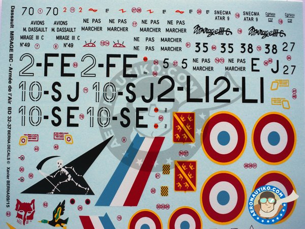 Image 2: Dassault Mirage IIIC | Marking / livery in 1/32 scale manufactured by Berna Decals (ref.BD32-37)