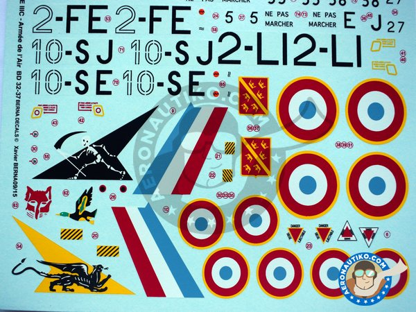 Image 3: Dassault Mirage IIIC | Marking / livery in 1/32 scale manufactured by Berna Decals (ref.BD32-37)