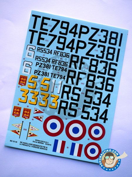 De Havilland Mosquito FB Mk VI | Marking / livery in 1/32 scale manufactured by Berna Decals (ref.BD32-39) image