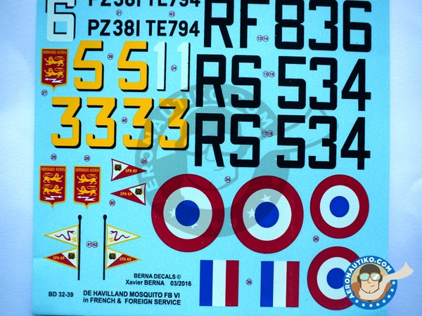 Image 1: De Havilland Mosquito FB Mk VI | Marking / livery in 1/32 scale manufactured by Berna Decals (ref.BD32-39)