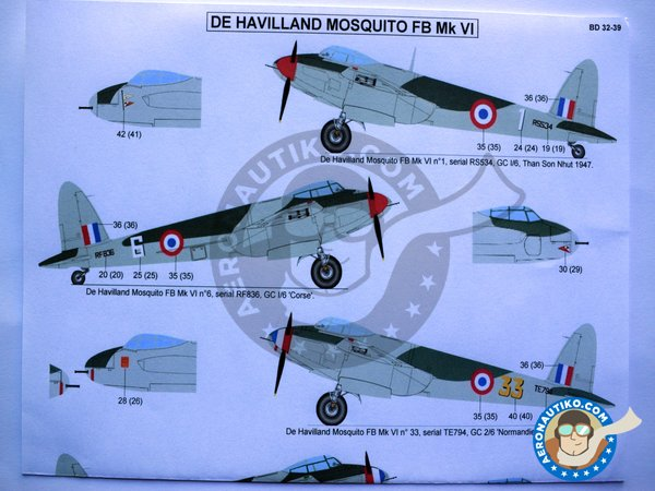 Image 3: De Havilland Mosquito FB Mk VI | Marking / livery in 1/32 scale manufactured by Berna Decals (ref. BD32-39)