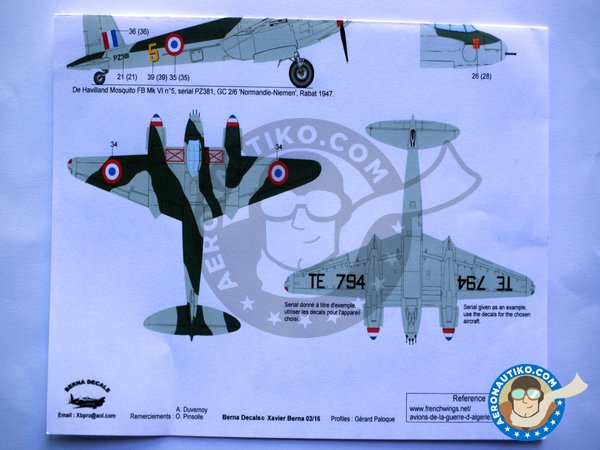 Image 4: De Havilland Mosquito FB Mk VI | Marking / livery in 1/32 scale manufactured by Berna Decals (ref.BD32-39)