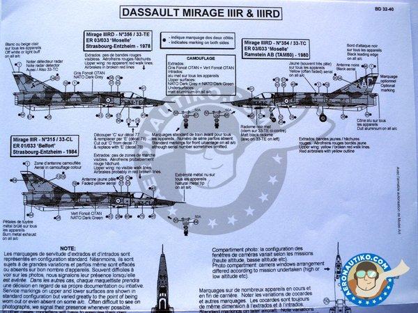 Image 3: Dassault Mirage IIIR & IIIRD Armée de l'Air | Marking / livery in 1/32 scale manufactured by Berna Decals (ref.BD32-40)