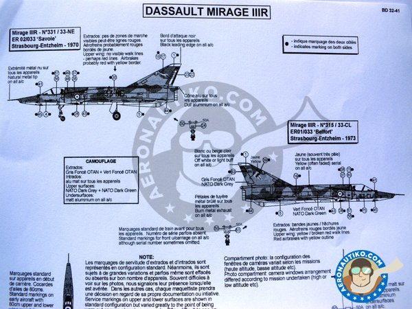 Image 3: Dassault Mirage IIIR | Marking / livery in 1/32 scale manufactured by Berna Decals (ref. BD32-41)