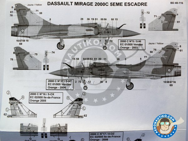 Image 5: Dassault Mirage 2000C | Marking / livery in 1/48 scale manufactured by Berna Decals (ref. BD48-116)