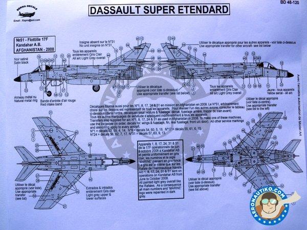 Image 3: Dassault Super Etendard French Navy | Marking / livery in 1/48 scale manufactured by Berna Decals (ref.BD48-120)