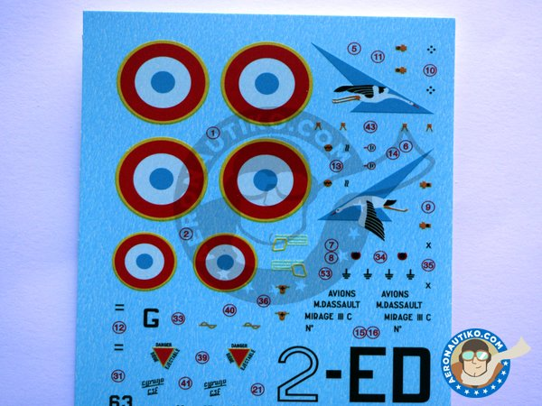 Image 1: Dassault Mirage IIIC | Marking / livery in 1/48 scale manufactured by Berna Decals (ref.BD48-126)
