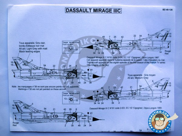 Image 3: Dassault Mirage IIIC | Marking / livery in 1/48 scale manufactured by Berna Decals (ref.BD48-126)