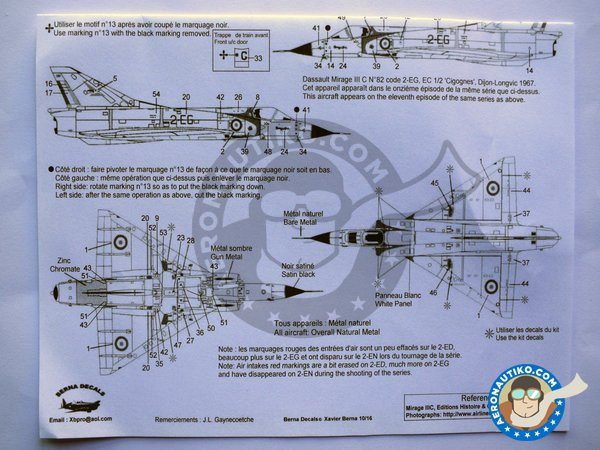 Image 4: Dassault Mirage IIIC | Marking / livery in 1/48 scale manufactured by Berna Decals (ref.BD48-126)