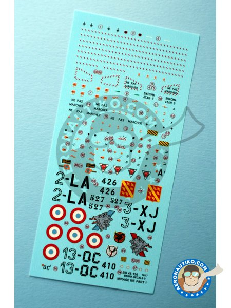 Dassault Mirage III Part 1 | Marking / livery in 1/48 scale manufactured by Berna Decals (ref. BD48-136) image