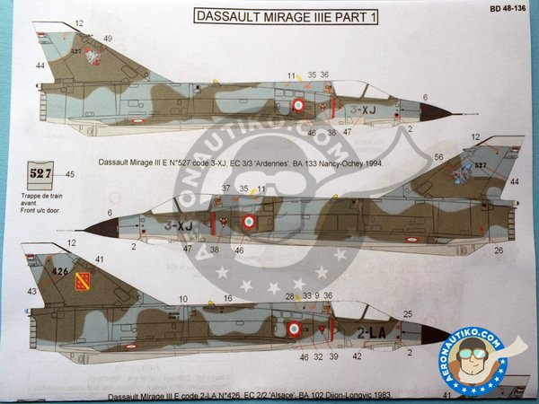 Image 1: Dassault Mirage III Part 1 | Marking / livery in 1/48 scale manufactured by Berna Decals (ref. BD48-136)