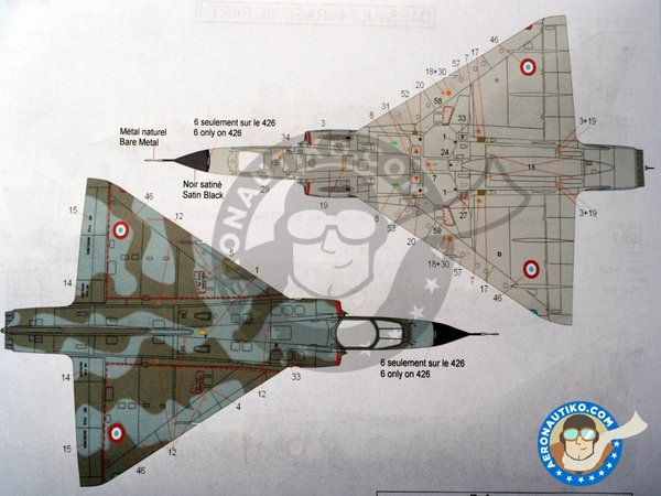 Image 3: Dassault Mirage III Part 1 | Marking / livery in 1/48 scale manufactured by Berna Decals (ref. BD48-136)