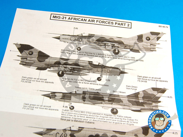 Image 6: Mikoyan-Gurevich MiG-21 Fishbed | Marking / livery in 1/48 scale manufactured by Berna Decals (ref. BD48-79)