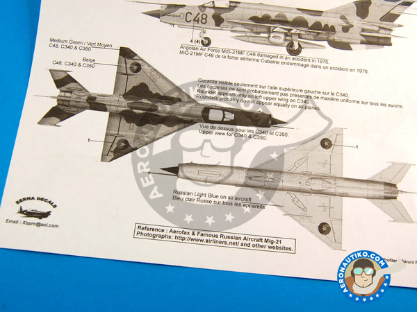 Image 8: Mikoyan-Gurevich MiG-21 Fishbed | Marking / livery in 1/48 scale manufactured by Berna Decals (ref. BD48-79)