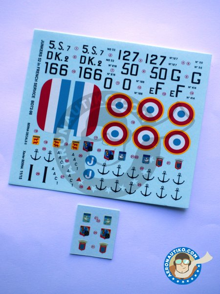 """Junkers 52 """"French sevice""""   Marking / livery in 1/72 scale manufactured by Berna Decals (ref.BD72-98) image"""
