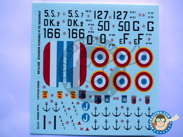 """Image 1: Junkers 52 """"French sevice""""   Marking / livery in 1/72 scale manufactured by Berna Decals (ref.BD72-98)"""