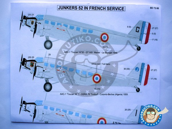 """Image 3: Junkers 52 """"French sevice""""   Marking / livery in 1/72 scale manufactured by Berna Decals (ref.BD72-98)"""