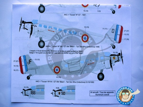 """Image 4: Junkers 52 """"French sevice""""   Marking / livery in 1/72 scale manufactured by Berna Decals (ref.BD72-98)"""