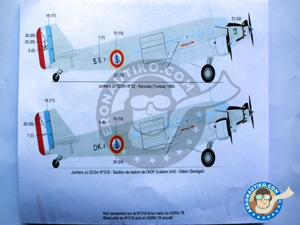 """Image 5: Junkers 52 """"French sevice""""   Marking / livery in 1/72 scale manufactured by Berna Decals (ref.BD72-98)"""