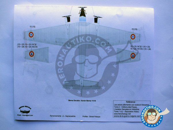 """Image 6: Junkers 52 """"French sevice""""   Marking / livery in 1/72 scale manufactured by Berna Decals (ref.BD72-98)"""