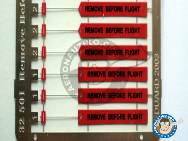 Image 1: Remove Before Flight ribbon | Coloured photo-etched cockpit parts in 1/32 scale manufactured by Eduard (ref.32501)