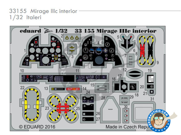 Image 1: Dassault Mirage III C | Coloured photo-etched cockpit parts in 1/32 scale manufactured by Eduard (ref.33155)
