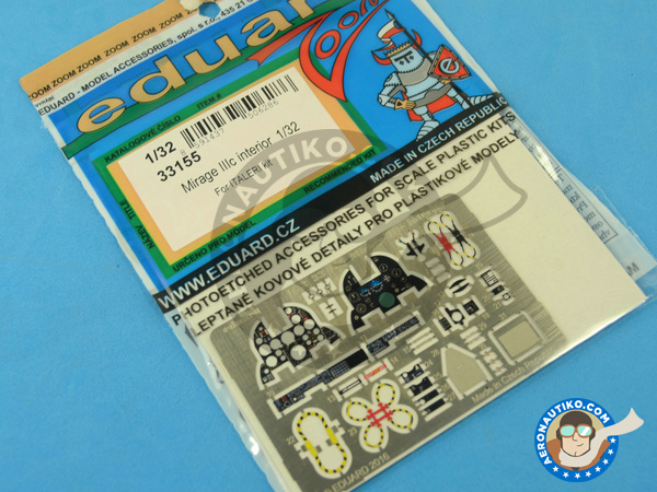 Image 2: Dassault Mirage III C | Coloured photo-etched cockpit parts in 1/32 scale manufactured by Eduard (ref.33155)