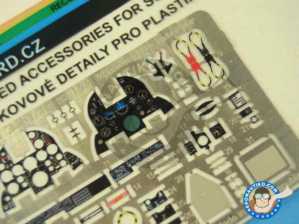 Image 3: Dassault Mirage III C | Coloured photo-etched cockpit parts in 1/32 scale manufactured by Eduard (ref.33155)