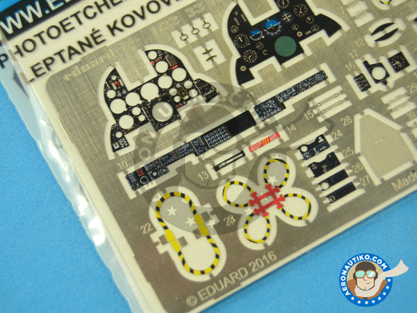 Image 4: Dassault Mirage III C | Coloured photo-etched cockpit parts in 1/32 scale manufactured by Eduard (ref.33155)