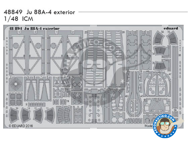 Image 1: Junkers Ju-88 A-4 | Flaps in 1/48 scale manufactured by Eduard (ref.48849)