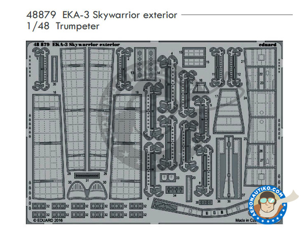 Image 1: Douglas EKA-3 Skywarrior Exterior | Photo-etched parts in 1/48 scale manufactured by Eduard (ref.48879)