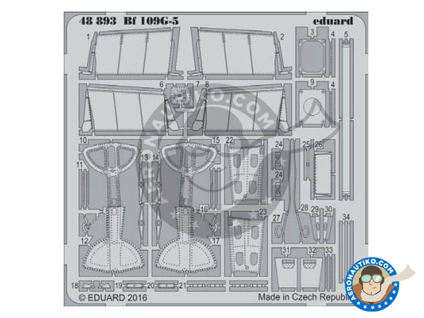 Image 1: Messerschmitt Bf 109 G-5   Photo-etched parts in 1/48 scale manufactured by Eduard (ref.48893)